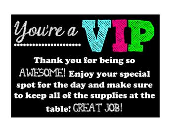 VIP Table Sign FREEBIE