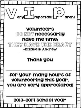 VIP: Very Important Parent Award Certificate