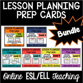 Online ESL Lesson Planning Prep Card Bundle VIPKID Levels 1, 2, 3, 4, 5, Trials