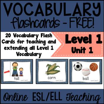Online ESL Teaching (VIPKID Level 1) Vocabulary Prop Cards Unit 1 - FREE