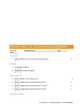 VIPKID Level 1 (PreVIP) Unit 10, 11 and 12 Checkpoints and Assessments BUNDLE