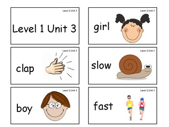 VIPKID Level 1 Units 1-12 vocab cards