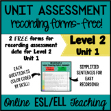 Online ESL Assessment Recording Form (VipKid Level 2) Unit 1 - FREEBIE!!!