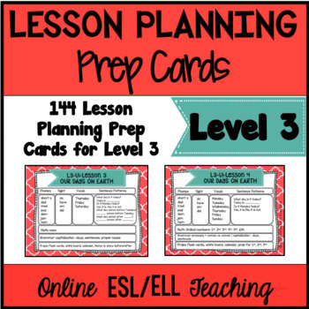 Online ESL Lesson Planning Prep Cards (VipKid Level 3)
