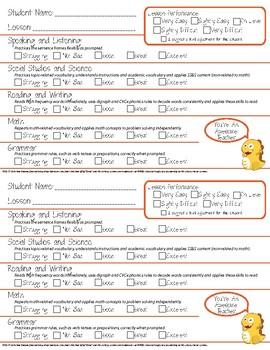 VIPKID Teacher Feedback Rating Card
