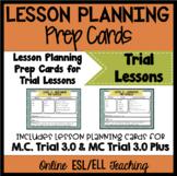 Online ESL Teaching Trial Lesson Planning Prep Cards (VipKid)