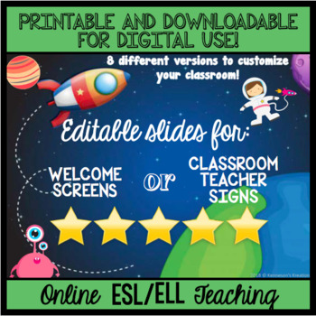 Online ESL Teaching Welcome and Goodbye Slides - Space - EDITABLE!!!