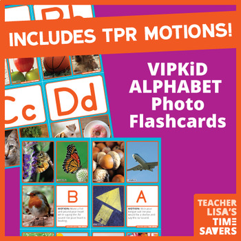 VIPKid Alphabet Flashcards - With TPR Motions and 5 Photographs per Letter