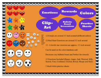 VIPKid Emotions Heart Emojis Stars Worksheet Emotions Unit Bulletin Board  Decor