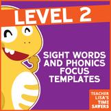 VIPKid Level 2 Sight Words and Phonics Focus Templates