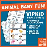 VIPKid Level 2 Unit 10 Animals Flashcards, Sentence Frames, and Riddle Reward