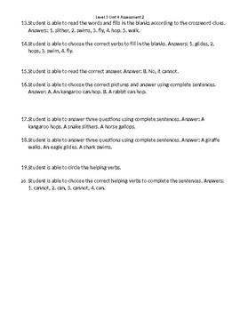 VIPKid Unit Assessment Worsheet - Level 3 Unit 4 Assessment 2