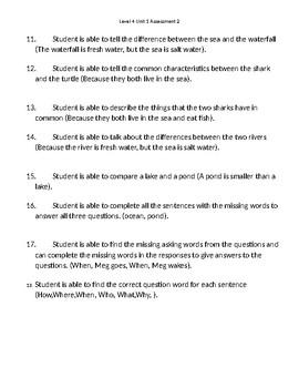 VIPKid Unit Assessment Worsheet - Level 4 Unit 1 Assessment 2