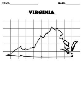 VIRGINIA Coordinate Grid Map Blank