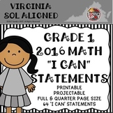 "VIRGINIA SOL 2016 MATH ""I CAN"" STATEMENTS GRADE 1"