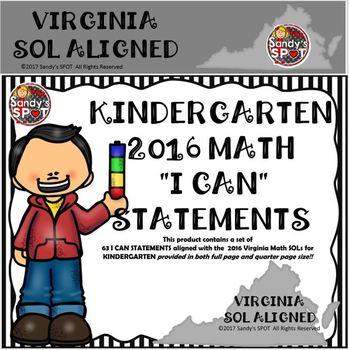 "VIRGINIA SOL 2016 MATH ""I CAN"" STATEMENTS KINDERGARTEN"