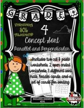 VIRGINIA SOL CONCEPT SORT GRADE 4 PARALLEL AND PERPENDICULAR TEST PREP