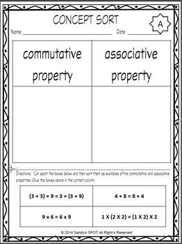 VIRGINIA SOL CONCEPT SORT GRADES 4-6 Commutative and Associative TEST PREP