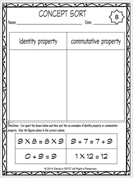 VIRGINIA SOL CONCEPT SORT IDENTITY AND COMMUTATIVE PROPERTIES TEST PREP