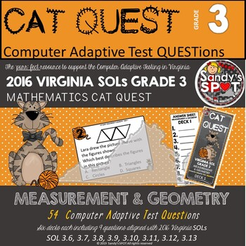 VIRGINIA SOL MATH Grade 3 CAT QUEST BUNDLE Measurement and Geometry