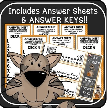 VIRGINIA SOL MATH Grade 3 CAT QUEST BUNDLE Probability, Statistics, Patterns