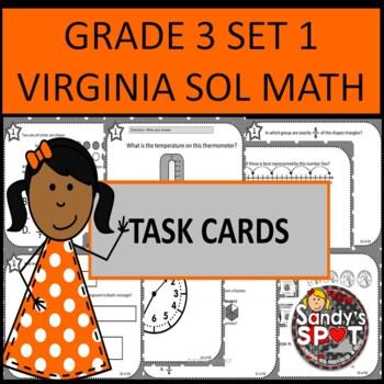 GRADE 3 VIRGINIA SOL MATH TASK CARDS SET 1 TEST PREP  VIRG