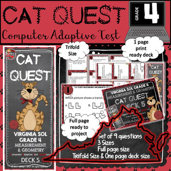 VIRGINIA SOL MATH Grade 4 CAT QUEST Cards MEASUREMENT AND GEOMETRY  Deck 5