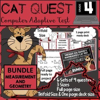 VIRGINIA SOL MATH Grade 4 CAT QUEST Cards Measurement & Ge