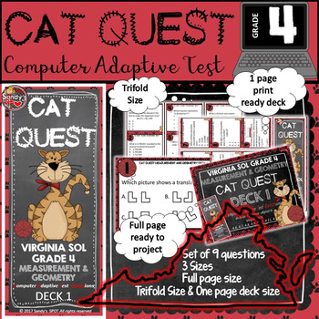 VIRGINIA SOL MATH Grade 4 CAT QUEST Cards Measurement and Geometry Deck 1