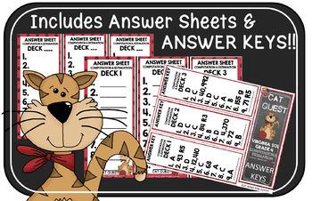 VIRGINIA SOL MATH Grade 4 CAT QUEST BUNDLE Probability, Patterns, Statistics,