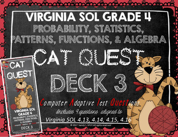 VIRGINIA SOL MATH Grade 4 DECK 3 CAT QUEST Probability,Statistics,Patterns