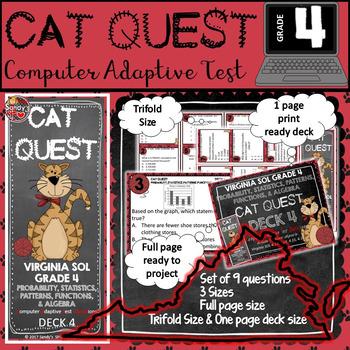 VIRGINIA SOL MATH Grade 4 DECK 4 CAT QUEST Probability,Statistics,Patterns