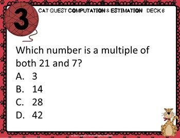 VIRGINIA SOL MATH Grade 4 DECK 6 CAT QUEST Computation and Estimation