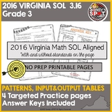 VIRGINIA SOL REVIEW 2016 Grade 3 Math  SOL 3.16 PATTERNS & INPUT OUTPUT TABLES