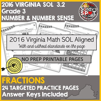 VIRGINIA SOL REVIEW 2016 Grade 3 Math  SOL 3.2 FRACTIONS