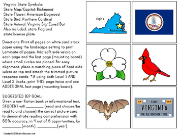 VIRGINIA State Symbols ADAPTED BOOK for Special Education and Autism