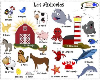 VISUAL AID/POSTER - Animals in Spanish! (Farm & Ocean)