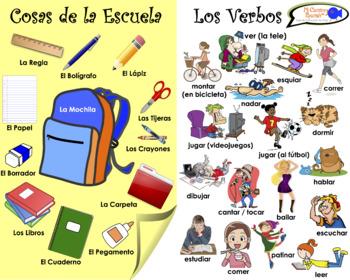 VISUAL AID/POSTER - School Vocabulary & VERBS!