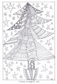 Zentangle Coloring Pages – Christmas Designs 1