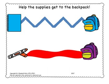 VISUAL MOTOR FINE MOTOR. Get the school supplies in the backpack.