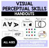 VISUAL PERCEPTUAL SKILLS HANDOUTS: 5 skill areas with expl