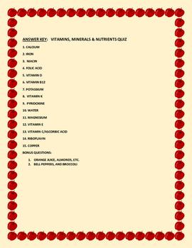 VITAMINS, MINERALS, & NUTRIENTS QUIZ