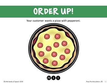 VLTH SOUND Pizza Articulation Cards for Single & Multisyllabic Words & Sentences