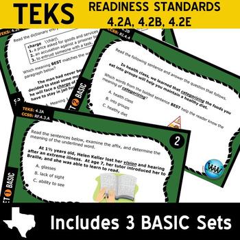 VOCAB BUNDLE ~ READING READY 4th Grade Task Cards – 6 Basic & Advanced Sets