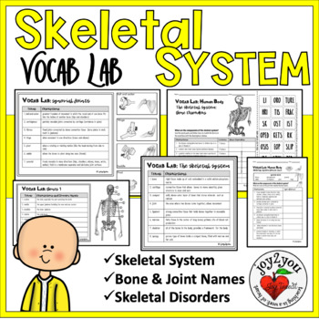 VOCAB LAB – Human Body – Skeletal System and BONUS 48 Word Wall Cards
