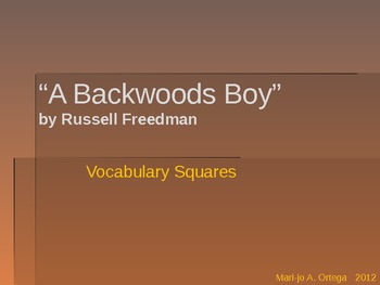 "VOCAB SQUARES: ""A Backwoods Boy"""