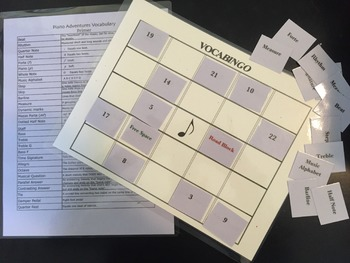 VOCABINGO for Piano Adventures Primer