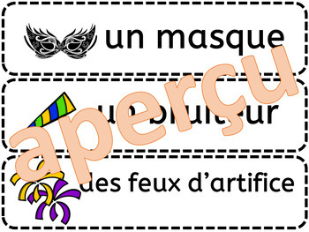 VOCABULAIRE - Mots étiquettes - NOUVEL AN - (New Years) - (French - FSL)