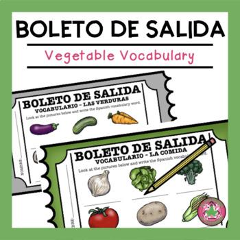 VOCABULARIO - LAS VERDURAS (food) EXIT SLIP