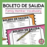 Spanish Family Member Vocabulary Match Exit Slip